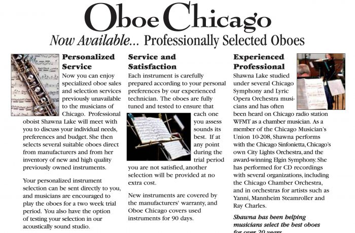 Marketing Collateral – Oboe Chicago Sell Sheet