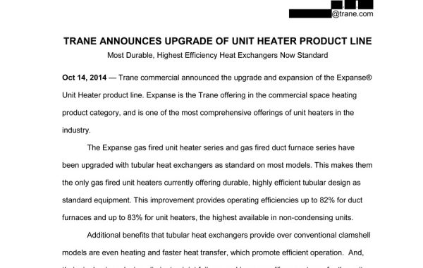 Press Release – Trane Expanse Unit Heaters