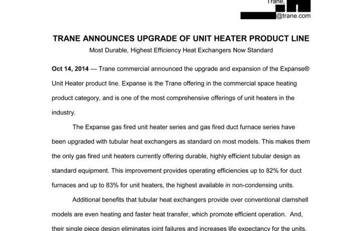 Press Release – Trane Expanse Unit Heaters