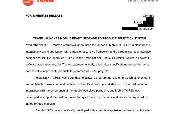 Press Release – Trane Mobile TOPSS